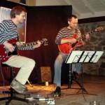 Zu sehen ist die Band Elektrozupfer; Zwei Männer mit ihren Gitarren.