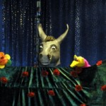 Hier ist der Kopf eines Puppenesels der über ein Bühnentuch schaut.